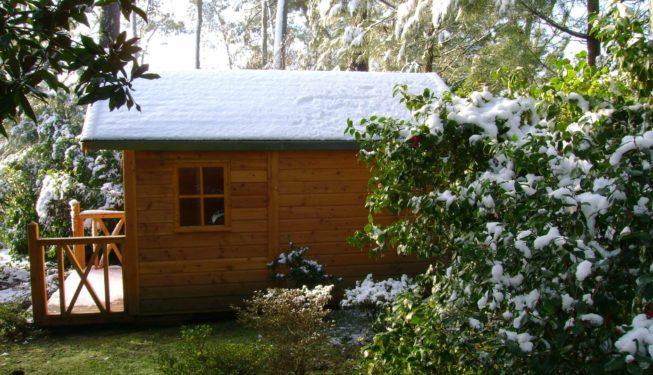 Cabane en bois toit enneigé